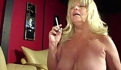 Cock gets sucked by Granny while smoking