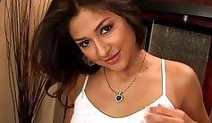 Superb Latina Stripeg kinky pussy bounces at guys cock