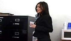 Busty secretary living inside the office gets a good pounding