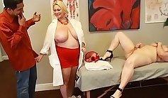 Busty nurse pleasuring patient circumcised cunt