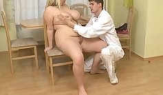 Chubby nurse playing with pussy