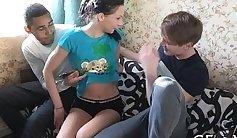Real lesbian teen girlfriend sucks and fucks