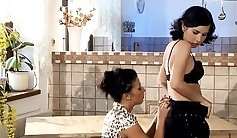 Aline Rival and ANI CHAKIA have a lesbian date in the kitchen