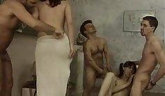 Kinky German tramps piss play in a keg