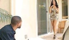 Cute black haired wifey is pleasing her pierced clam