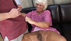 young granny is having sex with a slim mature