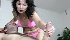 Mature milf takes a massage before handjob