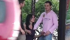 Threesome in the public airtight room with snowy athleisure woman