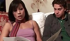 Asian milf with pearls playing with wet pussy and balls