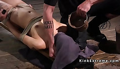 Bondage slave tied and tortured with rope and hogtied
