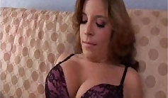 Redhead with huge boobs fucks brunette and two guys gf