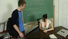 Horny student wearing glasses fuck teacher