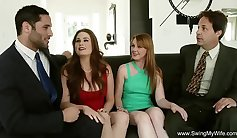 Busty Brunette And Her Swingers Play Strip