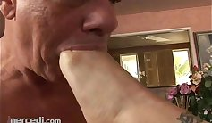 Mature foot fetish with hot blonde shooting two loads
