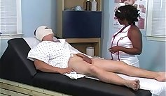 Cute white nurse sucking black cock