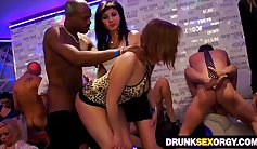 Oriental babes try big cock party
