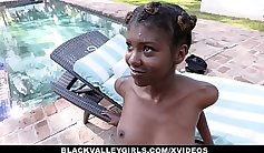 Black teen sucks and rides hard dick on top