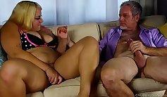 Blonde BBW big tits gets filled with cum