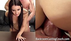 BBW on the casting couch gets anal creampie