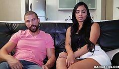 Perfect ass Celeste fucks two guys in a sex adventure