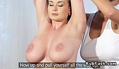 Buxom lesbian gals with huge boobs please one guy with massage