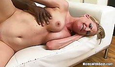 Interracial Deepthroat Fucks BBC Horny Blonde MILF